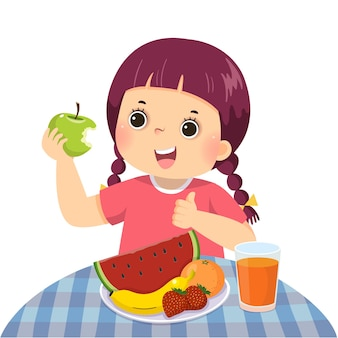Karikatur eines kleinen mädchens, das grünen apfel isst und daumen hoch zeigt zeichen