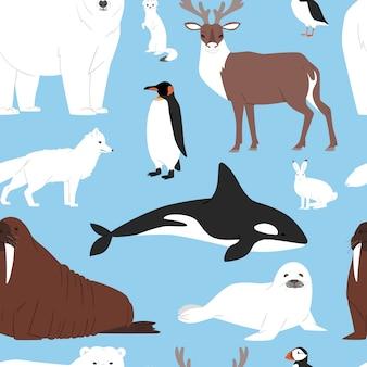 Karikatur-eisbär oder pinguin-zeichensammlung der arktischen tiere mit wal-rentier und robbe im schneebedeckten winterantarktis-satz nahtlosen musterhintergrund