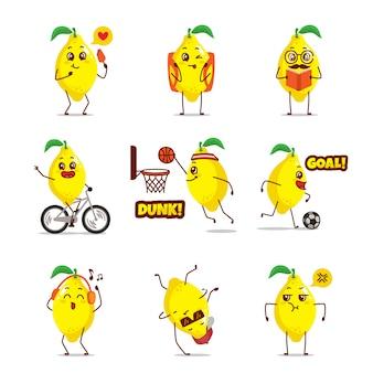 Karikatur-emoticon-ausdruck der gelben zitronenfruchtikone karikatur-emoticon-ausdruck, der tägliche aktivität basketballgitarre liest buch college-radtour singen musik glücklich fröhliches tanzen nehmen selfie verlieben