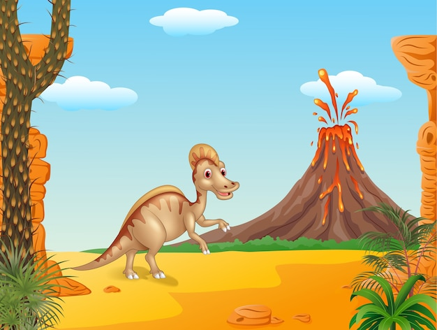Karikatur-ente berechneter hadrosaur im prähistorischen hintergrund