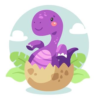 Karikatur entzückender baby-dinosaurier illustriert