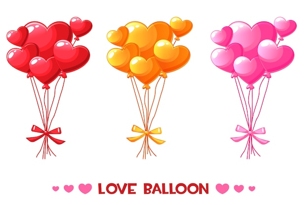 Karikatur färbte herzballone, gesetzten glücklichen valentinstag