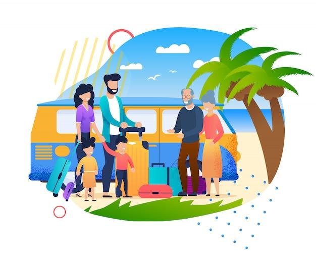 Karikatur-familie, die sich draußen am strand-vater mother children trifft