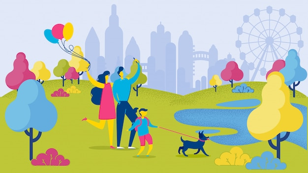 Karikatur-familie mit dem hund, der spaß am stadt-park hat