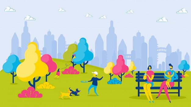 Karikatur-familien-kinder im stadt-park entspannen sich freizeit