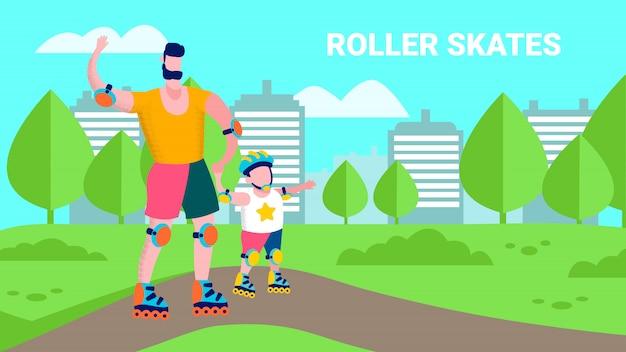 Karikatur-familien-rollschuh-flache sportillustration
