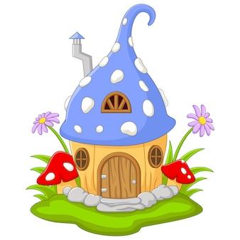 Karikatur-feenhaus in der form eines hutes