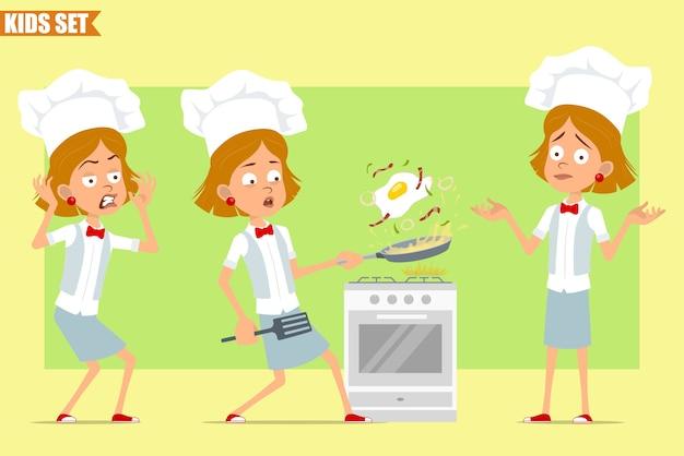 Karikatur flach lustige kleine koch koch mädchen charakter in weißer uniform und bäcker hut. kind erschreckt und spiegelei mit speck kochend.