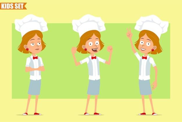 Karikatur flach lustige kleine koch koch mädchen charakter in weißer uniform und bäcker hut. kind zeigt starke muskeln und friedenszeichen.