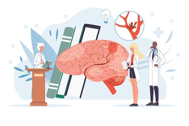 Karikatur flache arztcharaktere bei der arbeit und therapiekonzept