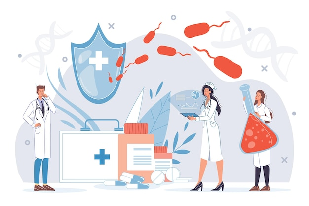 Karikatur flache doktorfiguren bei der arbeit in uniform