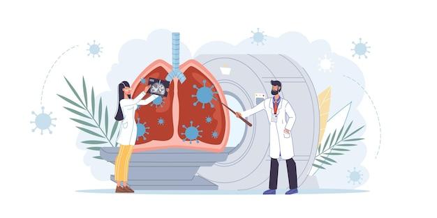 Karikatur flache doktorfiguren bei der arbeit