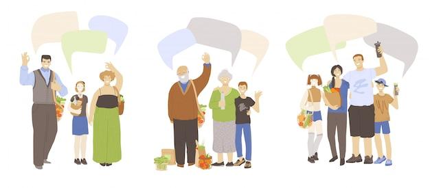 Karikatur flache illustration von glücklichen familien, winkende hände, zeigt ok-zeichen, hält null abfallprodukte in händen mit sprechblasen oben. keine abfallökologie und sicheres planetenfamilienkonzept