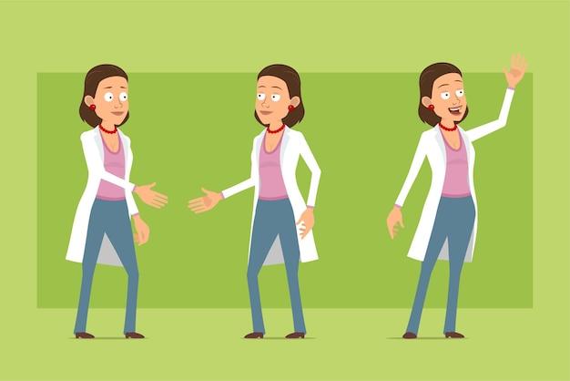 Karikatur flache lustige doktorfrau charakter in der weißen uniform. mädchen, das hände schüttelt und willkommene geste zeigt. bereit für animation. auf grünem hintergrund isoliert. einstellen.