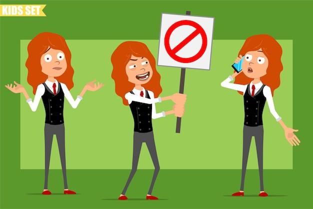 Karikatur flache lustige kleine rothaarige mädchenfigur im geschäftsanzug mit roter krawatte. kind, das am telefon spricht und kein eintrittsstoppschild hält. bereit für animation. auf grünem hintergrund isoliert. einstellen.