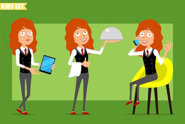 Karikatur flache lustige kleine rothaarige mädchenfigur im geschäftsanzug mit roter krawatte. kind, das am telefon spricht und tablette und metallnahrungsmittelschale hält. bereit für animation. auf grünem hintergrund isoliert. einstellen.
