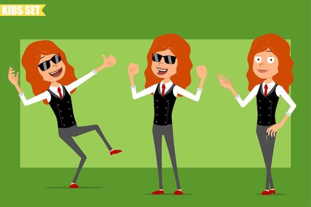 Karikatur flache lustige kleine rothaarige mädchenfigur im geschäftsanzug mit roter krawatte. kind posiert, zeigt muskeln und daumen hoch zeichen. bereit für animation. auf grünem hintergrund isoliert. einstellen.