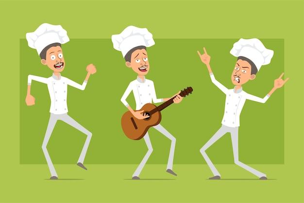 Karikatur flache lustige koch kochmann charakter in weißer uniform und bäcker hut. mann springt, tanzt und spielt rock auf der gitarre.