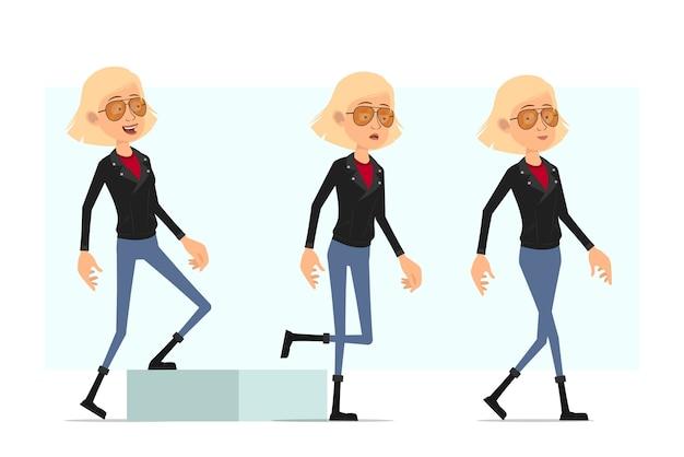 Karikatur flache lustige niedliche rock'n'roll-mädchencharakter in lederjacke. blondes erfolgreiches müdes mädchen, das zu ihrem ziel geht.