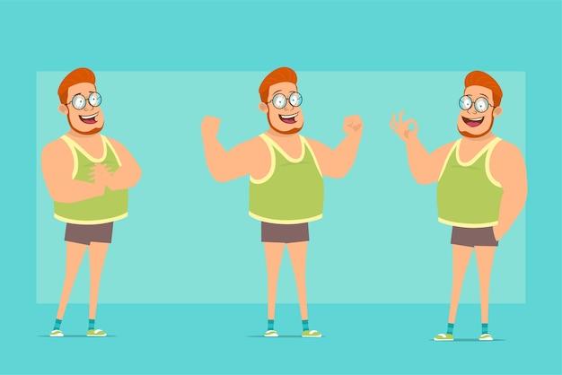 Karikatur flache lustige rothaarige fette jungenfigur in gläsern, unterhemd und shorts. junge aufgeregt, zeigt muskeln und okay geste.