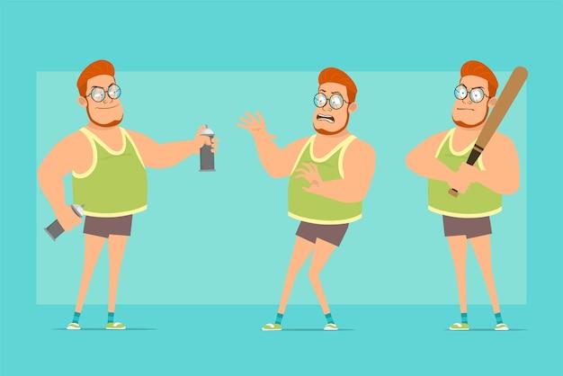 Karikatur flache lustige rothaarige fette jungenfigur in gläsern, unterhemd und shorts. junge erschrocken, mit sprühdose stehend und baseballschläger haltend.