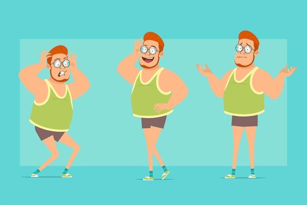 Karikatur flache lustige rothaarige fette jungenfigur in gläsern, unterhemd und shorts. junge missverständnis, posiert, ängstlich und wütend.