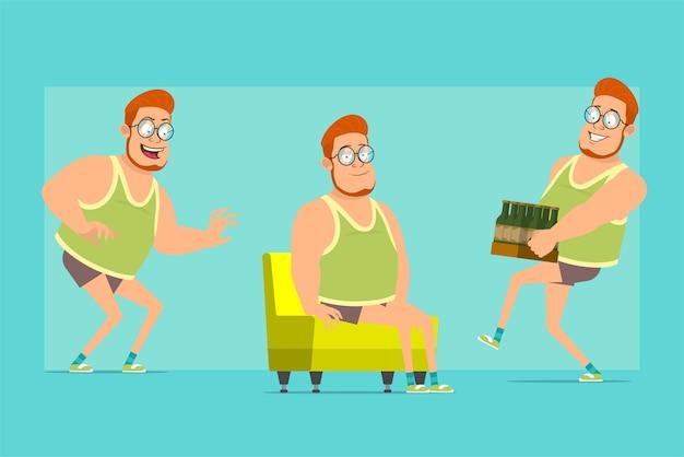 Karikatur flache lustige rothaarige fette jungenfigur in gläsern, unterhemd und shorts. junge schleicht, ruht sich aus und trägt eine schachtel bier.