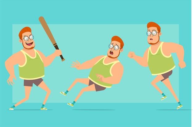Karikatur flache lustige rothaarige fette jungenfigur in gläsern, unterhemd und shorts. verärgerter junge, der mit baseballschläger läuft und zurückfällt.