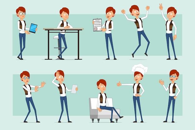 Karikatur flache lustige rothaarige frauenfigur in lederjacke und jeans. mädchen ruht sich aus, springt, zeigt daumen hoch, frieden und okay zeichen