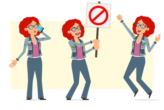 Karikatur flache lustige rothaarige hippie-frauenfigur in brille und jeansjacke. mädchen, das am telefon spricht, kein eintrittsschild hält und springt.
