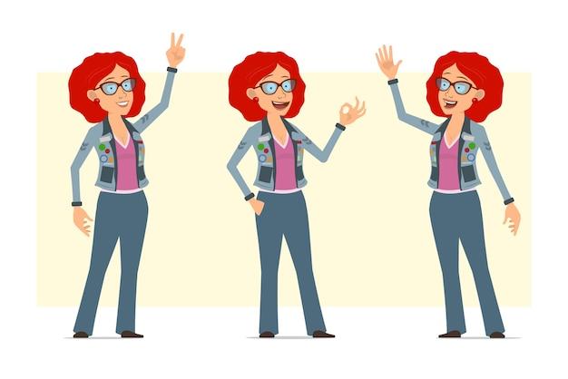 Karikatur flache lustige rothaarige hippie-frauenfigur in brille und jeansjacke. mädchen sagt hallo, zeigt frieden und okay zeichen.