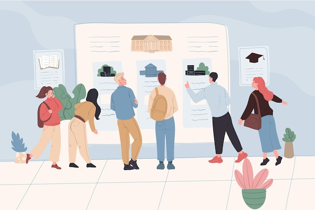 Karikatur flache studentenfiguren jungen mädchen am institut