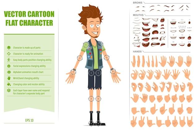 Karikatur flacher bärtiger hipster-mann-charakter in jeansshorts und wams