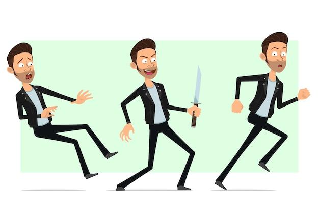 Karikatur flacher bärtiger rock'n'roll-manncharakter in der lederjacke. dieb junge läuft und fällt mit messer.