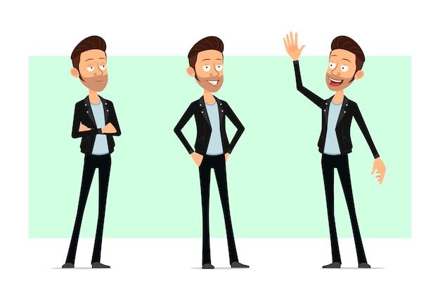 Karikatur flacher bärtiger rock'n'roll-manncharakter in der lederjacke. glücklicher junge, der steht, denkt und hallo sagt.
