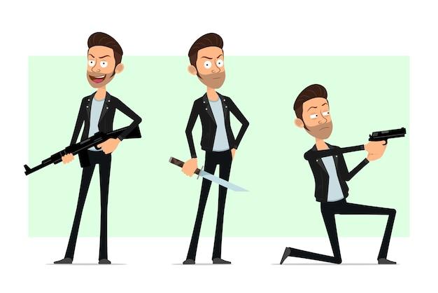 Karikatur flacher bärtiger rock'n'roll-manncharakter in der lederjacke. junge schießt mit pistole, gewehr und haltemesser.
