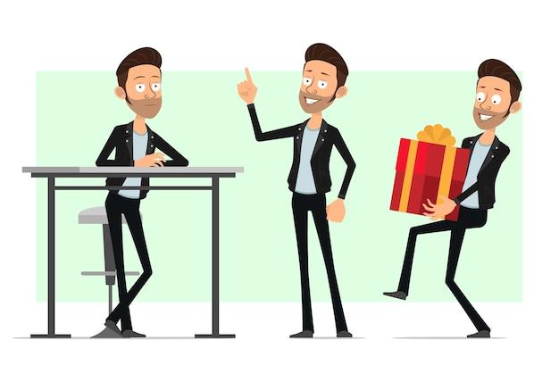 Karikatur flacher bärtiger rock'n'roll-manncharakter in der lederjacke. lächelnder junge, der geschenk trägt und aufmerksamkeitszeichen zeigt.