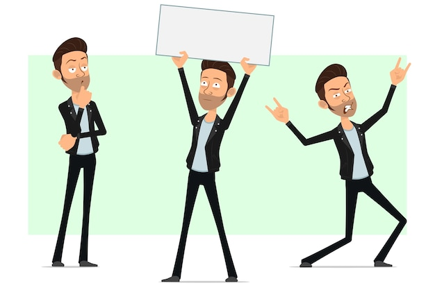 Karikatur flacher bärtiger rock'n'roll-manncharakter in der lederjacke. metalljunge, der leeres zeichen für text denkt und zeigt.