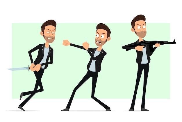 Karikatur flacher bärtiger rock'n'roll-manncharakter in der lederjacke. schlauer junge, der mit gewehr schießt und mit messer kämpft.
