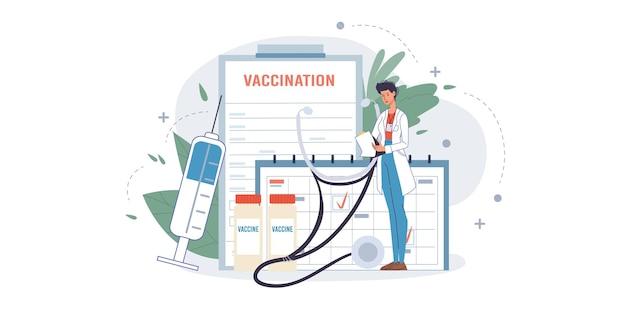 Karikatur flacher doktorcharakter bei der arbeit