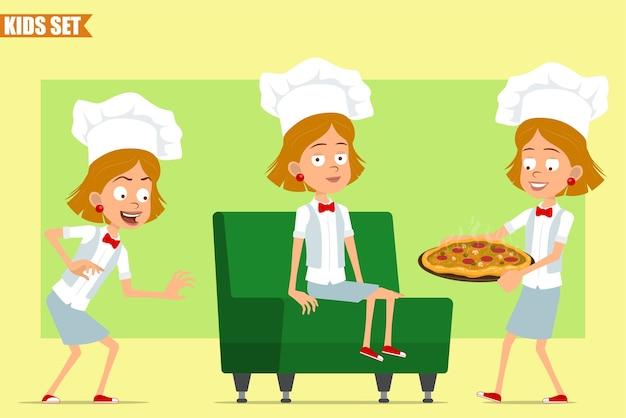 Karikatur flacher kleiner lustiger kochkochmädchencharakter in weißer uniform und bäckerhut. kind ruht sich aus und trägt pizza mit salami und pilzen.