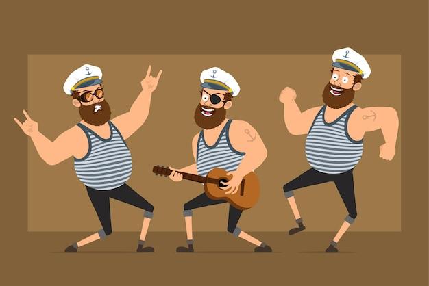 Karikatur flacher lustiger bärtiger fetter seemannmanncharakter im kapitänshut mit tätowierung. junge, der auf gitarre spielt und rock'n'roll-zeichen zeigt.