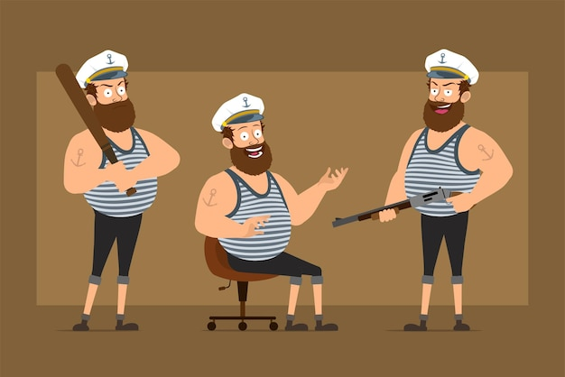 Karikatur flacher lustiger bärtiger fetter seemannmanncharakter im kapitänshut mit tätowierung. junge, der baseballschläger und schrotflinte hält.