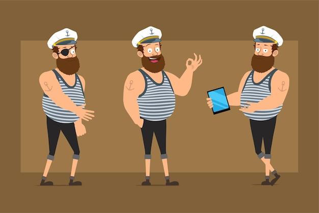 Karikatur flacher lustiger bärtiger fetter seemannmanncharakter im kapitänshut mit tätowierung. junge händeschütteln, tablette halten und okay zeichen zeigen.