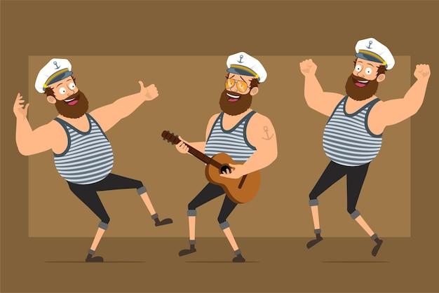 Karikatur flacher lustiger bärtiger fetter seemannmanncharakter im kapitänshut mit tätowierung. junge spielt auf der gitarre und zeigt daumen hoch zeichen.