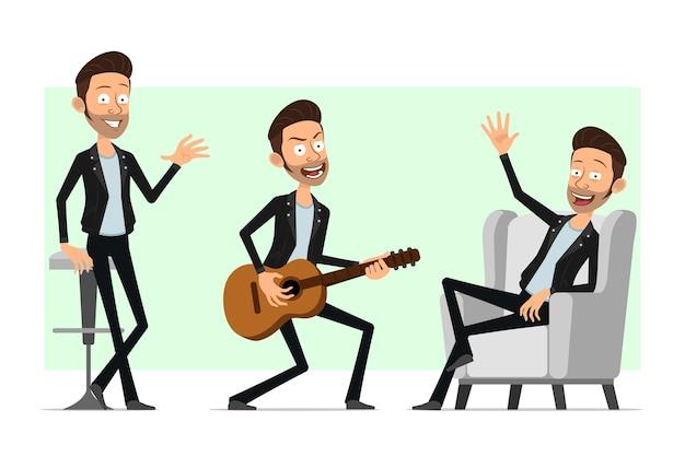 Karikatur flacher lustiger bärtiger rock'n'roll-manncharakter in der lederjacke. verärgerter junge, der auf gitarre spielt und hallo geste zeigt.