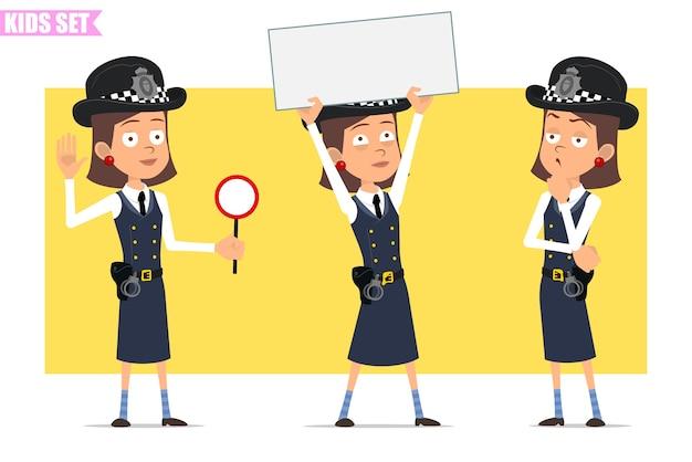 Karikatur flacher lustiger britischer polizist mädchencharakter in helmhut und uniform. mädchen, das leeres zeichen für text zeigt und stoppschild hält.