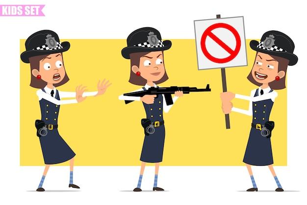 Karikatur flacher lustiger britischer polizist mädchencharakter in helmhut und uniform. mädchen, das vom gewehr schießt und kein eintrittsstoppschild hält.