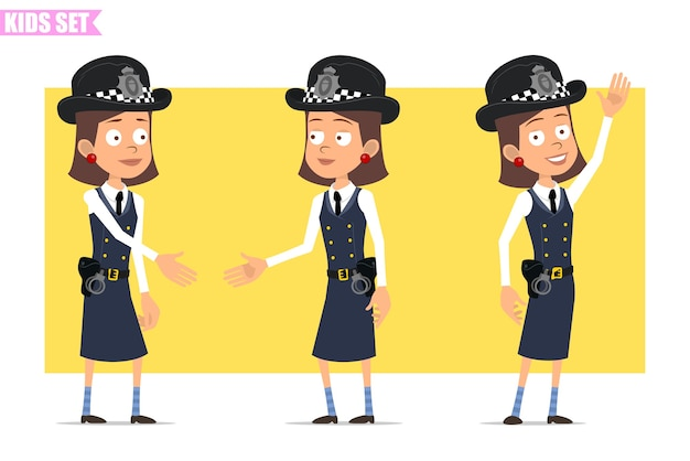 Karikatur flacher lustiger britischer polizist mädchencharakter in helmhut und uniform. mädchen händeschütteln und hallo sagen.