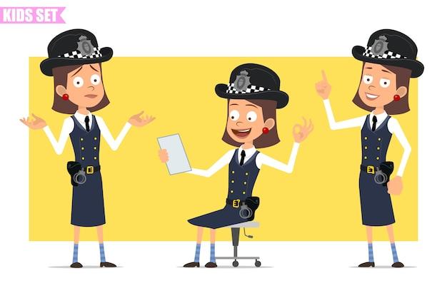 Karikatur flacher lustiger britischer polizist mädchencharakter in helmhut und uniform. mädchen liest notiz, zeigt aufmerksamkeit und okay zeichen.